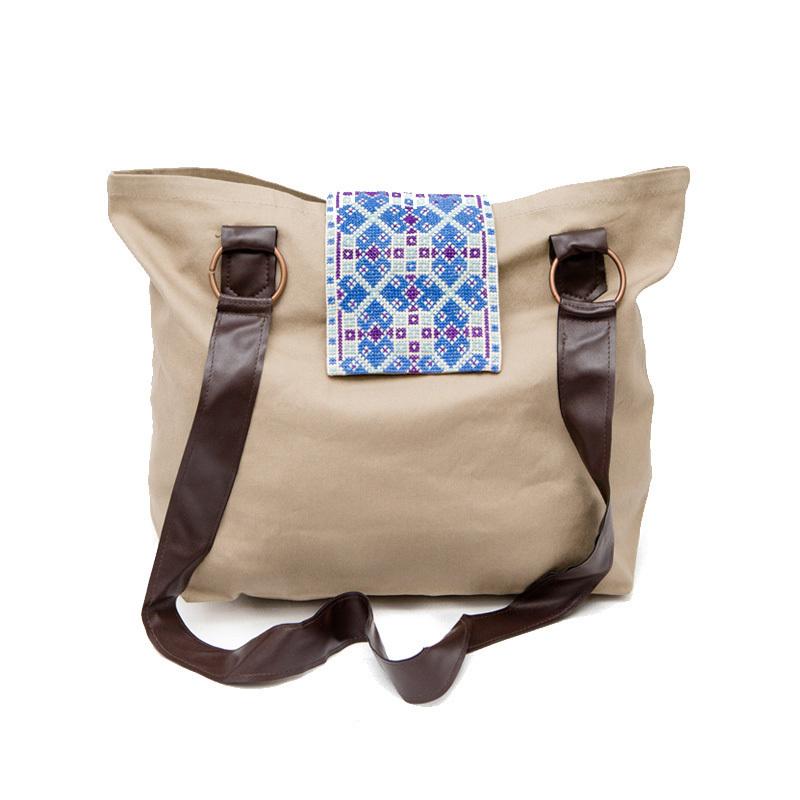 de5d633c8542 Jaffa Tote Bag Brown and Blue
