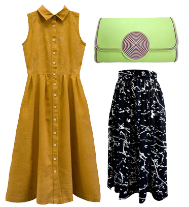 Rachael's 3 top picks from Fashion ComPassion's website - Bhalo Pineapple Dress (£80), Bhalo Streamer Skirt (£110) and Sougha Moon Clutch ( £155) .