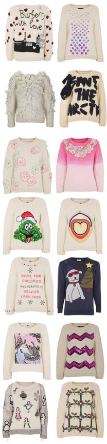 These jumpers for the Save the Children's 'Christmas Jumper Day' initiative were designed and hand-knitted by Wool and the Gang and their British gang of knitters before being customised by designers.