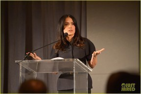 Salma Hayek Pinault launches the Chime For Change movement at the TED2013 in February.