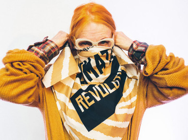 In support of positive solutions to climate change, Vivienne Westwood has designed the Climate Revolution knot-wrap for the natural-beauty firm Lush.